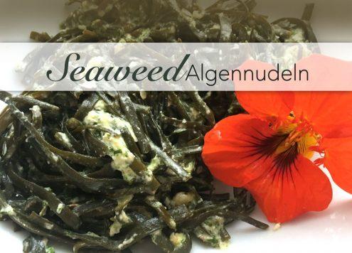 Seamore Seeweed Algen zum essen wie Spaghetti mit selbstgemachtem Pesto